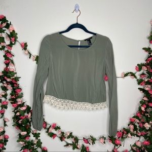Forever 21 Cropped Olive Green Top Womens Small